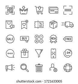 E-commerce and online shopping 25 line icons vector