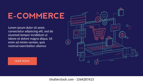E-Commerce, online shopping Concept  for website web page, presentation, banner   . Vector illustration, Futuristic design, isometric 3d,
