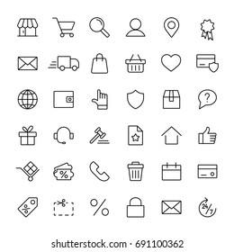 e-commerce online shopping line black 36 icons set