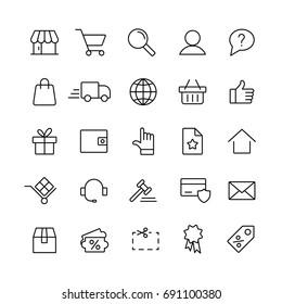 e-commerce online shopping line black 25 icons set