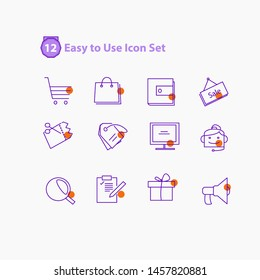 E-commerce, online shopping  - minimal thin line web icon.modern icon set Outline icons collection. Simple vector illustration. - Vector. buy, wallet, sale, discount, list, gift icon