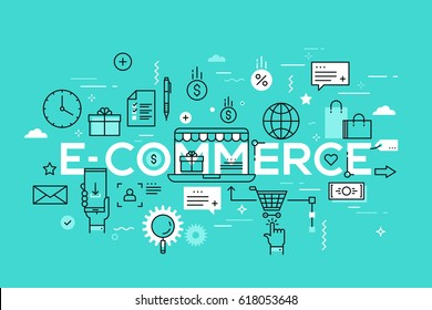 E-commerce, online shopping and retail, electronic shops, internet of things concept. Creative infographic banner with elements in thin line style. Vector illustration for advertisement, website.