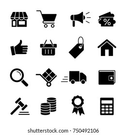 e-commerce online shopping simple black 16 icons set