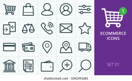 Ecommerce and online store web icons set. Collection of shopping carts, users, phones, payments, delivery, map markers.