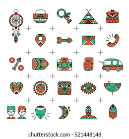 E-commerce outline web icons. Set for e-shop design in a boho and tribal style. Bohemian icons good for internet store projects. Vector illustration. Online store icons
