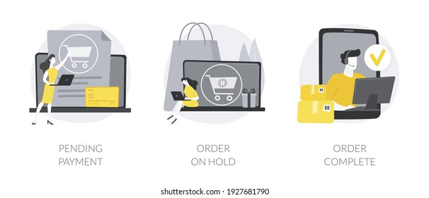 E-commerce purchase processing abstract concept vector illustration set. Pending payment, order on hold, booking complete, shipping details and delivery service, bank transaction abstract metaphor.