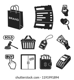 E-commerce, Purchase and sale black icons in set collection for design. Trade and finance vector symbol stock web illustration.