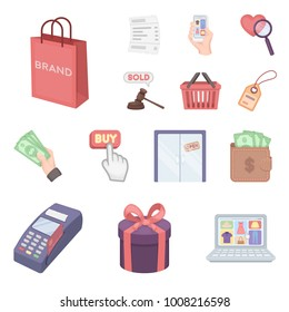 E-commerce, Purchase and sale cartoon icons in set collection for design. Trade and finance vector symbol stock web illustration.