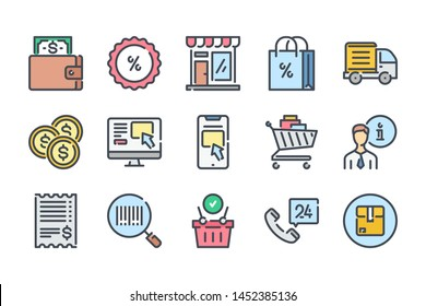 Ecommerce related color line icon set. Web store colorful linear icons. Online shopping flat color outline vector sign collection.