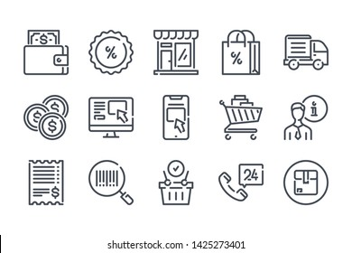 Ecommerce related line icon set. Web store linear vector illustration collection. Online shopping outline icons.