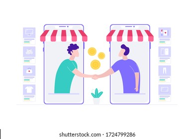 E-Commerce Reseller Agreement Online Shopping Vector Illustration, Suitable for Web Banners, Infographics, Book, Social Media, And Other Graphic Assets
