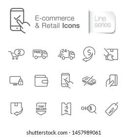 E-commerce & retail icons. Online banking, shopping cart, delivery truck, transactions, tracking, price tag.