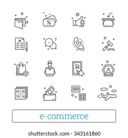 E-commerce, retail, shopping thin line icons. On-line shop, auction gavel, coupons, airmail, courier, goods and money signs. Modern vector design elements. Isolated on white.