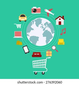 E-commerce. Set icons online shopping. Vector Illustration.