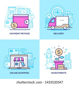 E-commerce - set of line design style colorful illustrations. Pink, blue images of a wallet and bank cards, truck, clock, store on laptop screen. Payment method, delivery, online shopping, investments