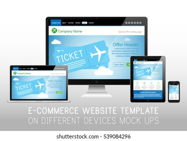 E-commerce Shop Airplane Tickets Sale Website Design Template Layout on Table Top Monitor, Laptop Computer, Tablet and Smartphone Vector Illustration