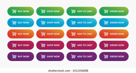 Ecommerce shop buttons modern set - Buy now, Shop now, Add to cart, Order now gradient action button