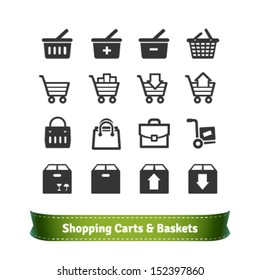 E-commerce Shopping Carts and Baskets. Shopping Bags and Merchandise Boxes