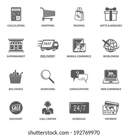 E-commerce shopping icons set of calculating packing delivery payment elements vector illustration