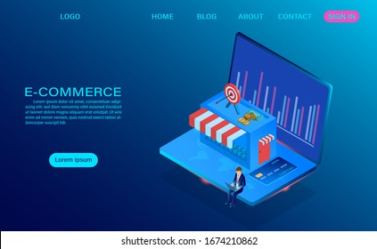 E-commerce shopping online with computer laptop. Vector 3d isometric template