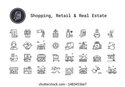 E-commerce, shopping, retail, real estate business thin line icons set. Modern linear logo concept for web, mobile application. Online shop, delivery, moving service, realty business vector pictogram.