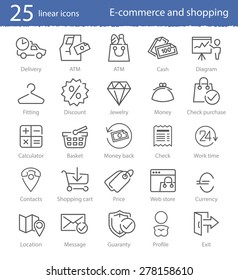 E-commerce, shopping and web store thin line icons set