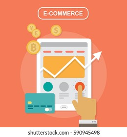 E-commerce, strategy flat vector