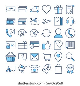 E-commerce thin line color vector icons set