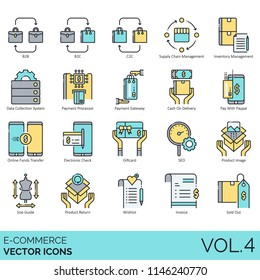 E-commerce vector icons. B2B, supply chain management, inventory, data collection system, payment processor, gateway, cash on delivery, online funds transfer, electronic check, seo, invoice, sold out.