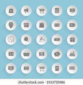 e-commerce vector icons on round puffy paper circles with transparent shadows on blue background. e-commerce stock vector icons for web, mobile and user interface design