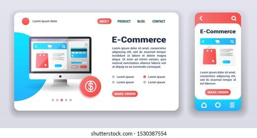 E-commerce web banner and mobile app kit. Cross platform. Flat vector illustration isolated flat icon online shopping, make order. UI/UX template.