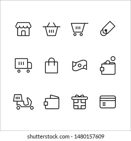 E-commerce Web and Mobile Icon Outline Style Icon Set