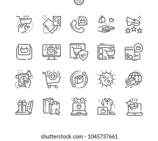 E-commerce Well-crafted Pixel Perfect Vector Thin Line Icons 30 2x Grid for Web Graphics and Apps. Simple Minimal Pictogram