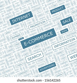 E-COMMERCE. Word cloud concept illustration. Graphic tag collection. Wordcloud collage with related tags and terms.