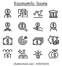 Economic , Business & Investment icons set in thin line style