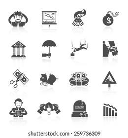 Economic crisis banking and finance depression black icons set isolated vector illustration