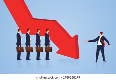 Economic crisis business team is in trouble, the manager looks at the team members pointing to the falling arrow