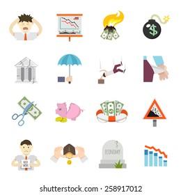 Economic crisis finance depression invest recession flat icons set isolated vector illustration