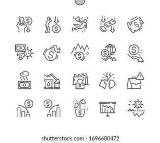Economic crisis Well-crafted Pixel Perfect Vector Thin Line Icons 30 2x Grid for Web Graphics and Apps. Simple Minimal Pictogram