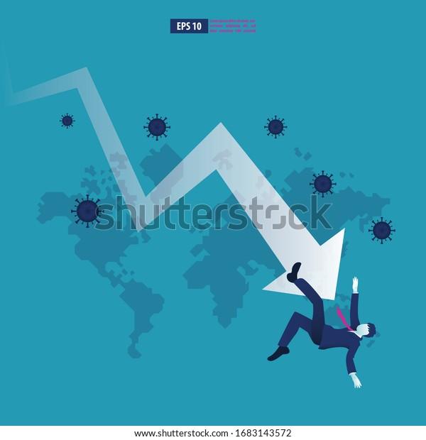 Wirtschaftsabschwung infolge einer Coronavirus-Pandemie oder eines COVID-19-Konzepts. Der Geschäftsmann steht vor einer Wirtschaftskrise, die durch ein Pfeilsymbol gekennzeichnet ist. Vektorillustration