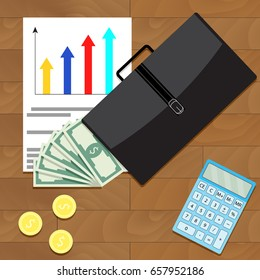 Economic and financial growth of business top view concept. Vector economic development and growth, illustration economic recovery and business growth
