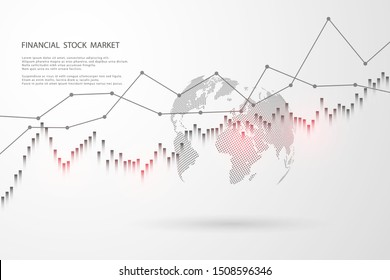 Economic graph with diagrams on the stock market, for business and financial concepts and reports.Stock market graph . Vector illustration