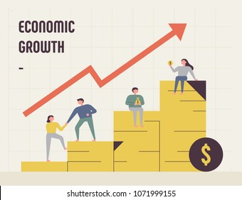 economic growth graph and people character. concept vector illustration flat design