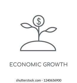 Economic growth linear icon. Modern outline Economic growth logo concept on white background from business collection. Suitable for use on web apps, mobile apps and print media.