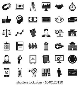 Economic partnership icons set. Simple set of 36 economic partnership vector icons for web isolated on white background