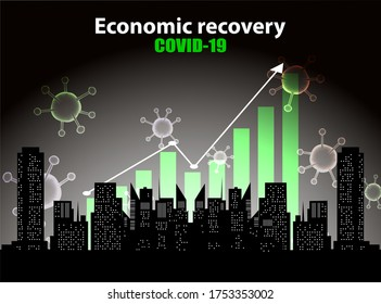 Economic recovery after epidemic situation,  covid-19 with cityscape. Vector illustration