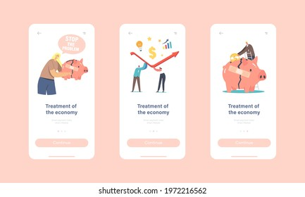 Economic Recovery and Treatment Mobile App Page Onboard Screen Template. Business People Characters Work Together Rising Arrow Graph Survive during Global Crisis Concept. Cartoon Vector Illustration - Shutterstock ID 1972216562