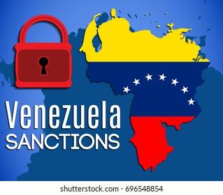 Economic sanctions against Venezuela vector illustration. Map of Venezuela with flag background, a red lock and text Venezuela Sanctions.