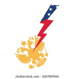 Economic sanctions of the United States against Russia. American lightning, beats two-headed eagle.