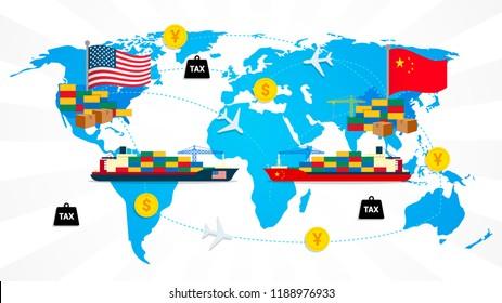 Economic trade between USA and China Vector illustration, Global logistics network. Flat design.